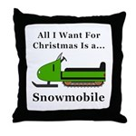 Christmas Snowmobile Throw Pillow