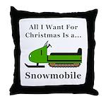 Christmas Snowmobile Throw Pillow