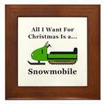 Christmas Snowmobile Framed Tile