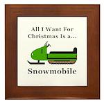 Christmas Snowmobile Framed Tile