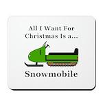 Christmas Snowmobile Mousepad