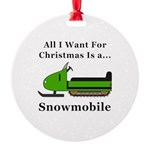 Christmas Snowmobile Round Ornament