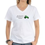 Christmas Tractor Women's V-Neck T-Shirt