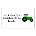 Christmas Tractor Sticker (Rectangle 50 pk)