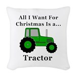 Christmas Tractor Woven Throw Pillow