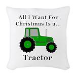 Christmas Tractor Woven Throw Pillow
