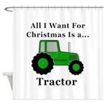 Christmas Tractor Shower Curtain