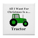 Christmas Tractor Tile Coaster
