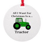 Christmas Tractor Round Ornament