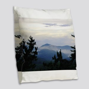 Smoky Mountain Morning Burlap Throw Pillow