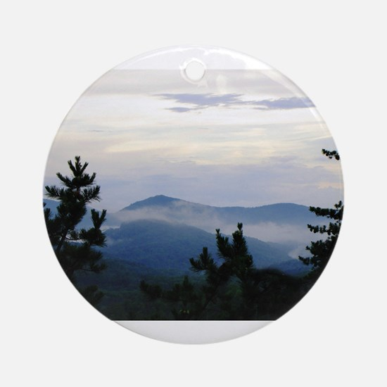 Smoky Mountain Morning Round Ornament