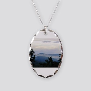 Smoky Mountain Morning Necklace Oval Charm