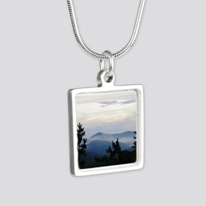 Smoky Mountain Morning Silver Square Necklace