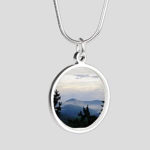 Smoky Mountain Morning Silver Round Necklace