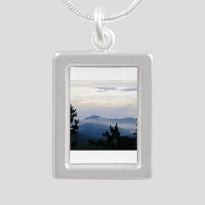 Smoky Mountain Morning Silver Portrait Necklace
