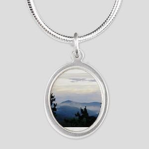 Smoky Mountain Morning Silver Oval Necklace