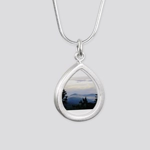 Smoky Mountain Morning Silver Teardrop Necklace