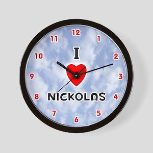 I Love Nickolas (Red/Blk) Valentine Wall Clock