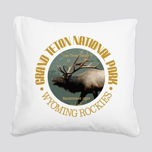 Grand Teton NP (elk) Square Canvas Pillow