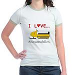 I Love Snowmobiles Jr. Ringer T-Shirt