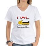 I Love Snowmobiles Women's V-Neck T-Shirt