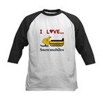 I Love Snowmobiles Kids Baseball Jersey