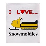 I Love Snowmobiles Throw Blanket