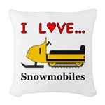 I Love Snowmobiles Woven Throw Pillow