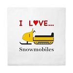 I Love Snowmobiles Queen Duvet