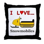 I Love Snowmobiles Throw Pillow