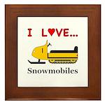 I Love Snowmobiles Framed Tile