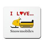 I Love Snowmobiles Mousepad