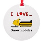 I Love Snowmobiles Round Ornament