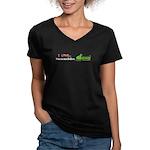 I Love Snowmobiles Women's V-Neck Dark T-Shirt