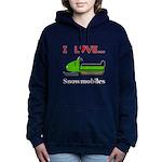 I Love Snowmobiles Women's Hooded Sweatshirt