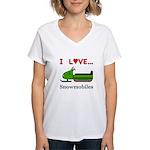 I Love Snowmobiles Women's V-Neck T-Shirt