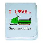 I Love Snowmobiles baby blanket