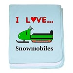 I Love Snowmobiles baby blanket
