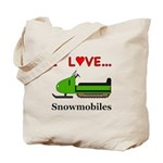 I Love Snowmobiles Tote Bag