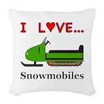 I Love Snowmobiles Woven Throw Pillow