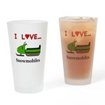 I Love Snowmobiles Drinking Glass