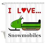 I Love Snowmobiles Shower Curtain
