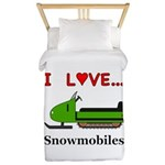 I Love Snowmobiles Twin Duvet
