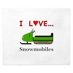 I Love Snowmobiles King Duvet