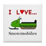 I Love Snowmobiles Tile Coaster