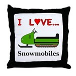 I Love Snowmobiles Throw Pillow