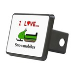 I Love Snowmobiles Rectangular Hitch Cover