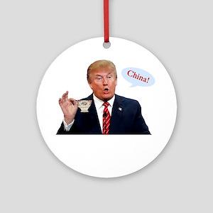 Donald Trump China Funny Round Ornament