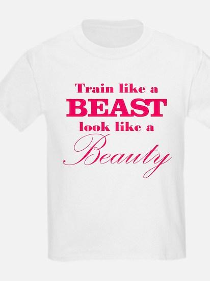 Train like a beast look like a beauty pink T-Shirt