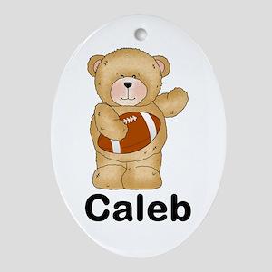 Caleb's Football Bear Oval Ornament